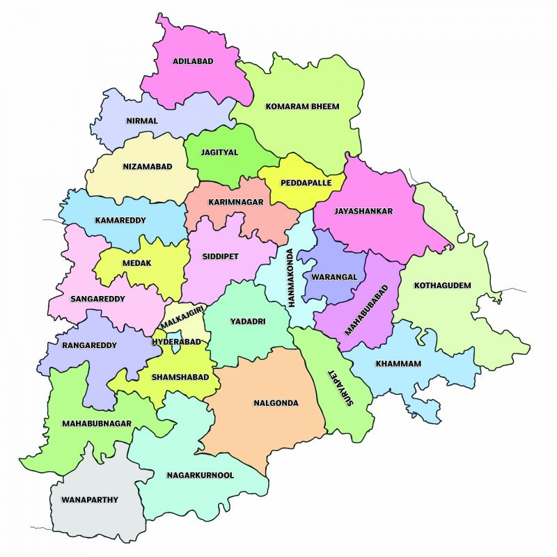 Image result for telangana districts map