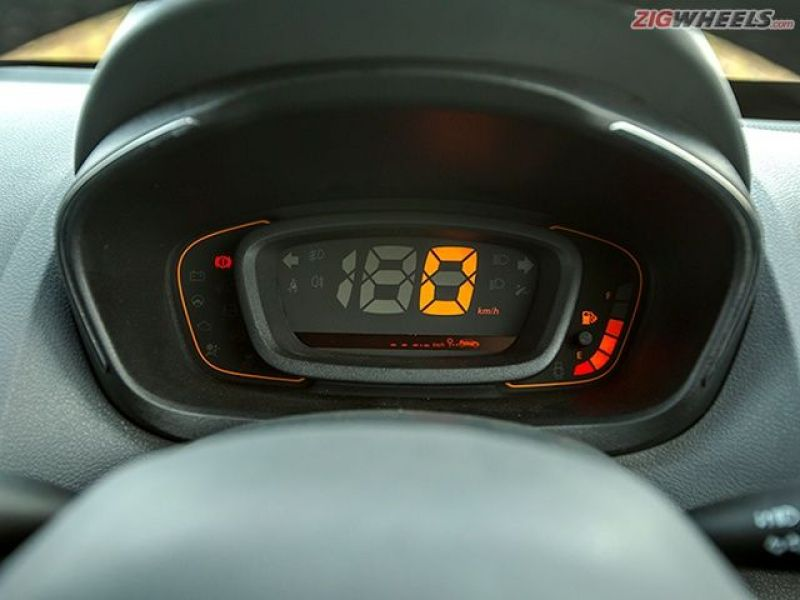 The Kwid uses an all-digital display for speedometer, and even gets a full-fledged trip computer, something that's unheard of in this segment.