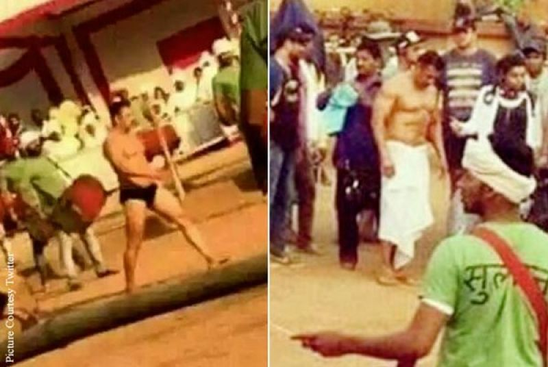 Salman Khan snapped on the sets of 'Sultan'.