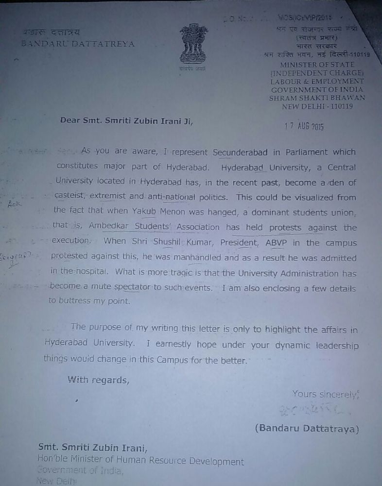 Dattatreya in 2015 had urged Smriti Irani to look into the affairs of the university.