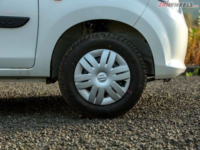 The Alto uses 12-inch wheels as opposed to the Kwid's 13-inchers.