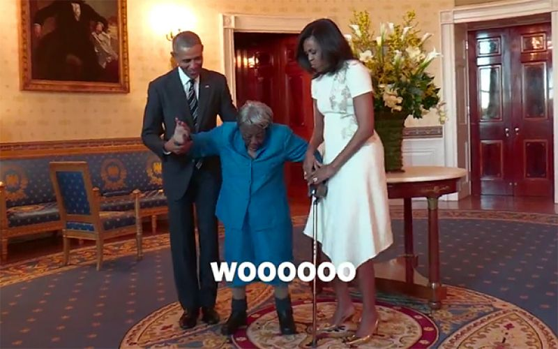 106-year-old woman dances with Obamas