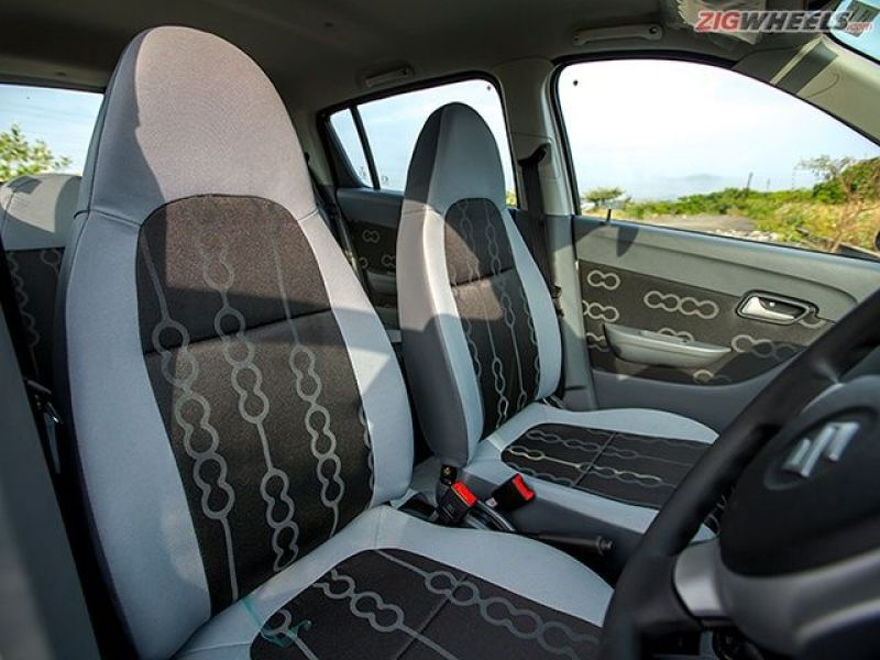 The Alto's front seats lack under thigh support.