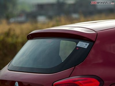A tiny spoiler at the back tries to give the Kwid's rear a sporty look.
