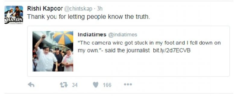 Kapoor thanks the journalist on social media who 'fell down on his own'.