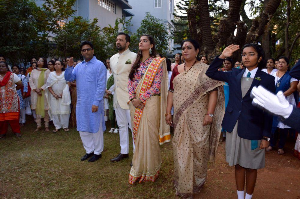 Sonam Kapoor attended the flag hoisting ceremony.