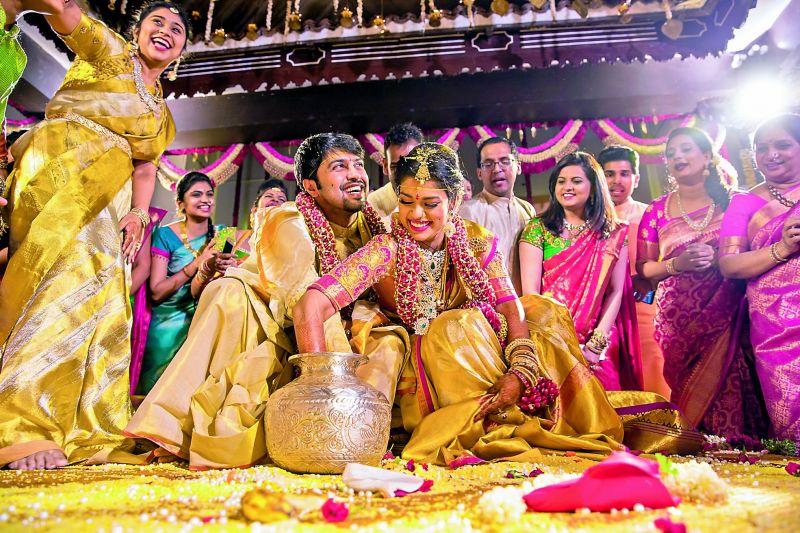 Kalyan and Srija, seen here, were married in Bengaluru on Monday night