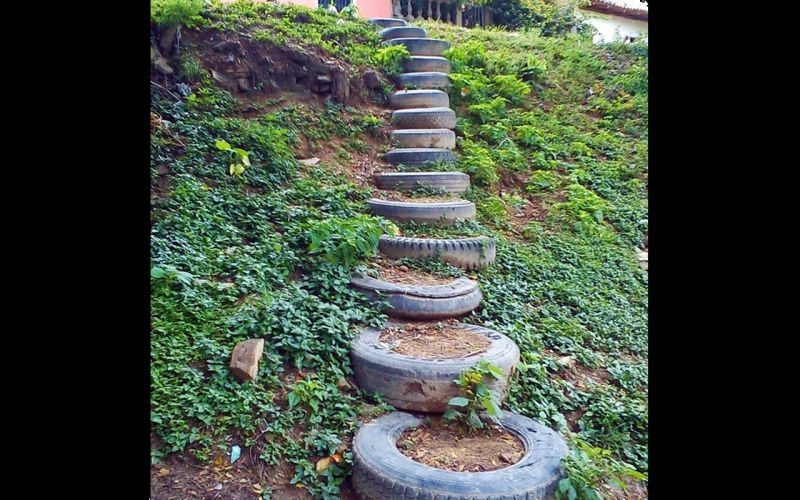 Line up some old tires to make some safe steps to your house.
