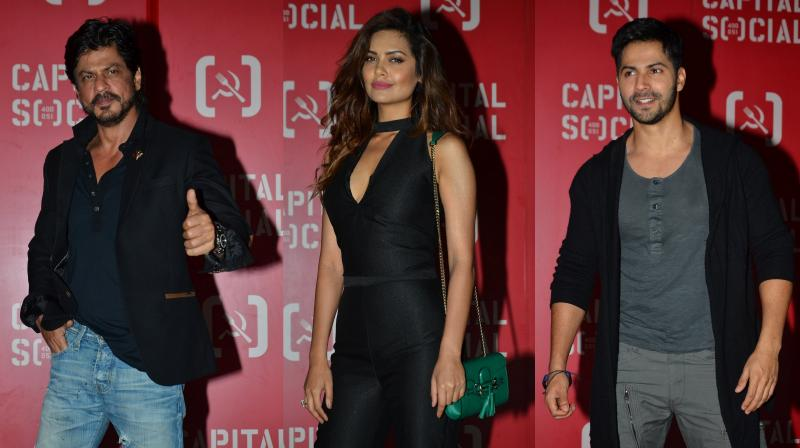 The who's who of Bollywood such as Shah Rukh Khan, Varun, Esha among others were snapped at a new restaurant's launch in Mumbai. (Photo: Viral Bhayani)