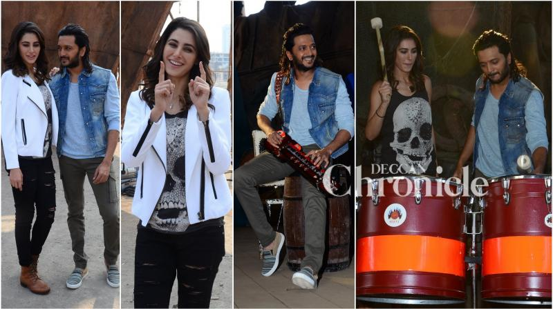 Bollywood stars Nargis Fakhri and Riteish Deshmukh formed a band together as they kick started Banjo's first day shoot in Mumbai along with film's producer Krishika Lulla and director Ravi Jadhav. (Photo: Viral Bhayani)
