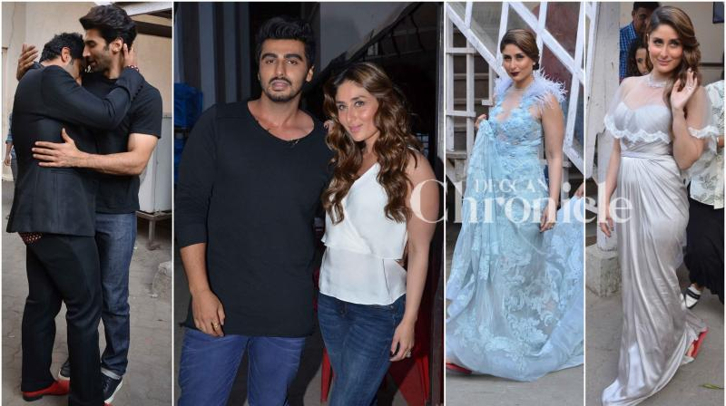 'Ki and Ka' couple Arjun Kapoor and Kareena Kapoor Khan along with 'Fitoor' star Aditya Roy Kapur were spotted at Mehboob studio in Mumbai. (Photo: Viral Bhayani)