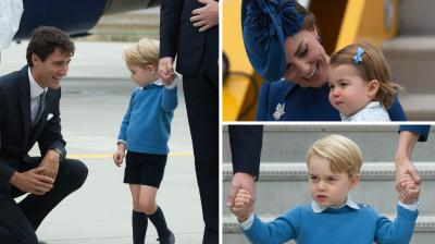 Canadian Prime Minister Justin Trudeau and his wife welcomed Little Princess Charlotte, Prince George and their parents, Prince William and Kate who arrived in Canada on Saturday for their first official trip overseas as a family of four.