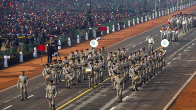 The French forces marched side-by-side with the Indian forces at the dress rehearsals in Delhi on Saturday.