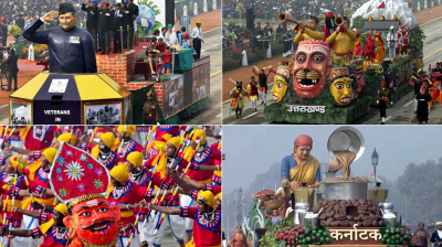 The Republic Day parade on Rajpath witnessed tableaux from 17 states and six ministries of the Central Government. These tableaux showcased varied themes starting with country's rich cultural heritage and socio-economic development to nation's progress in key areas.