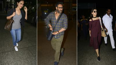 Ajay Devgn, Sonam Kapoor, Vaani Kapoor, Bhumi Pednekar and several other Bollywood celebrities were snapped at the airport on Sunday. (Photo: Viral Bhayani)