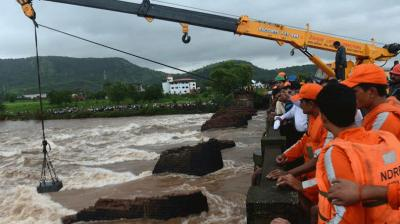 Five bodies were recovered on Thursday from the swollen Savitri River after two state-run buses and some other vehicles got washed away following collapse of a British-era bridge in Raigad district even as rescue workers lowered a 300 kg magnet to trace the missing vehicles.