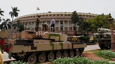 Country's premier defence research institution DRDO will showcase this week on Parliament premises, indigenously developed defence and technology products, including main battle tank Arjun and supersonic missile BrahMos.
