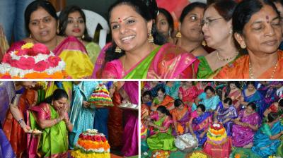 MP in the lower house and Telangana Jagruthi founder-president Kalvakuntla Kavitha celebrated the colourful and vibrant festival, Bathukamma, this year at KCR's residence.