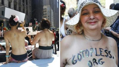 Women around US took off their tops on GoTopless Day to promote gender equality and women's rights to bare their breasts in public.