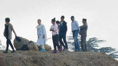 Congress President Sonia Gandhi and her daughter Priyanka Vadra arrived at Chhrabra near Shimla to inspect their under-construction home on Monday.