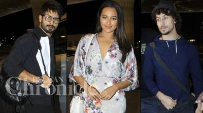 Shahid Kapoor, Sonakshi Sinha, Tiger Shroff and many more Bollywood celebs were spotted at the Mumbai airport on Tuesday evening, catching their Spain bound flight. Photo: Viral Bhayani