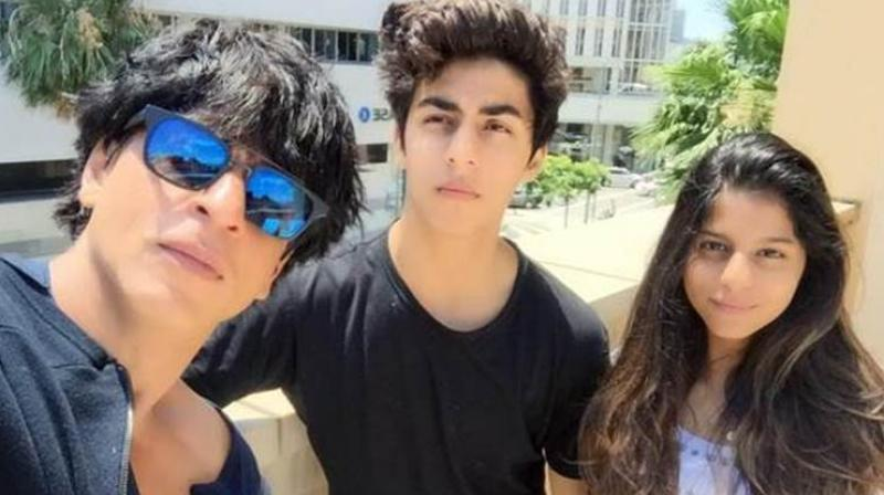 Shah Rukh Khan with his son Aryan and daughter Suhana.