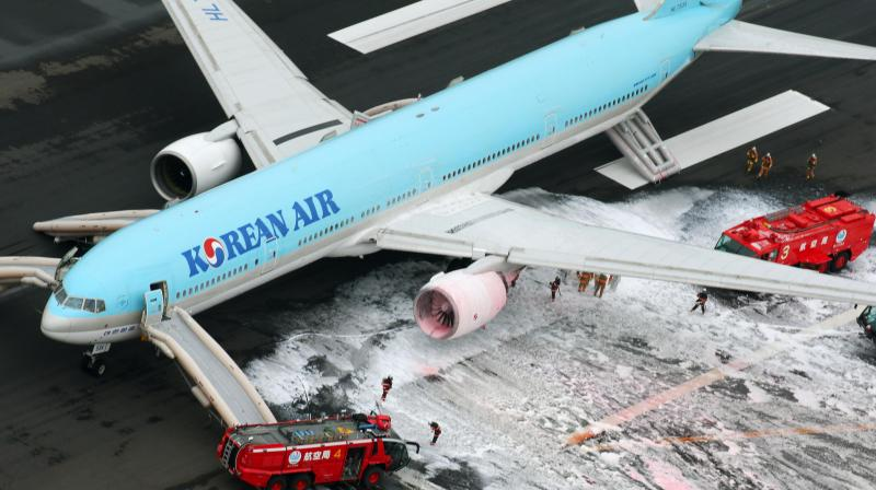 Passengers of a Korean Air plane recalled the terrifying moment one of the aircraft's twin engines caught fire as it was gaining speed for take-off at Tokyo's Haneda airport.