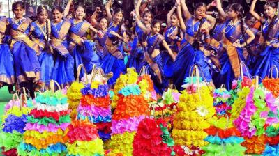 The colorful and vibrant festival of Telangana Bathukamma is going global this year to which it is expected that foreign residents and Telugu migrants will get fascinated and will get connected with Telangana culture and its people. (Photo: DC)