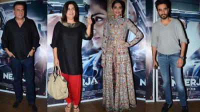 Sonam Kapoor held a private screening of her film 'Neerja', a week before it theatres on February 19. Photo: Viral Bhayani