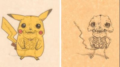 Artist from Oregon, Michael Pauluh as closely examined some of television's oddly shaped characters and illustrated their anatomy. This photo is of popular cartoon character Pikachu. (Photo: Instagram/ michael_paulus)