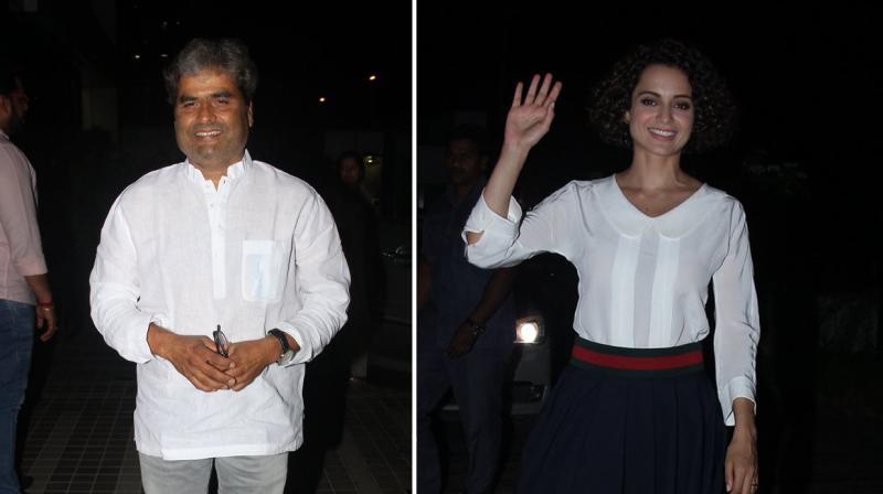 Vishal Bharadwaj and Kangana Ranaut strike a pose for the paparazzi. Photo: Viral Bhayani