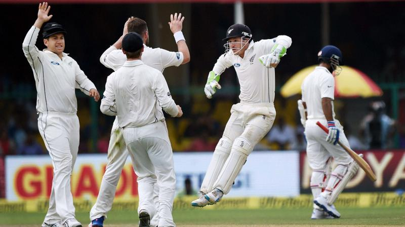 A disciplined bowling effort complemented by some inept shot selection by the middle and lower order, saw four Indian wickets fall, for just 16 runs after the second new ball was taken. (Photo: PTI)