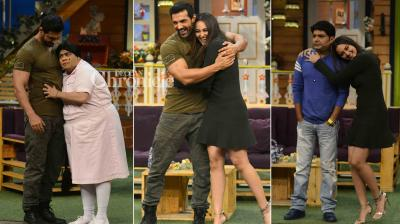 John Abraham and Sonakshi Sinha shot for an episode on Kapil Sharma's comedy show to promote their film 'Force 2'. (Photo: Viral Bhayani)