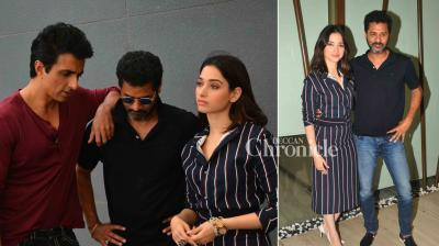 Prabhudeva, Tamannaah Bhatia and Sonu Sood were sanpped as they promoted their film 'Tutak Tutak Tutiya' on Friday. (Photo: Viral Bhayani)