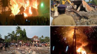 At least 102 people were killed and 280 injured when a major fire broke out in the Puttingal Devi Temple complex at nearby Paravoor early on Sunday when sparks emanating from a fireworks display ignited a store room filled with crackers and pyrotechnic material.