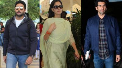 Bollywood stars Abhishek Bachchan, Katrina Kaif and Aditya Roy Kapur were spotted at the airport on Monday, returning home after fulfilling their work commitments. Photo: Viral Bhayani
