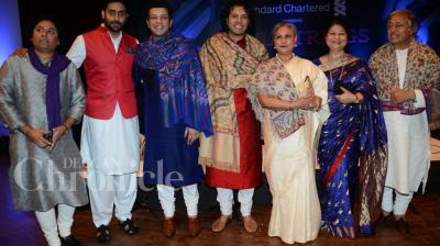 Abhishek and Jaya Bachchan attended Amaan and Ayaan Ali Khan's collaborative performance with Grammy nominated violinist Elmira Darvarova, in Mumbai on Monday. Photo: Viral Bhayani