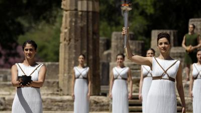 The Olympic flame for the Rio Games was lit in ancient Olympia in Greece on Thursday, launching the torch relay for the first-ever South American Games that have been overshadowed by Brazil's political crisis. (Photo:AP)