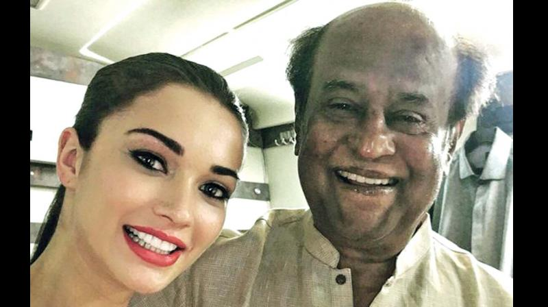 Amy Jackson and Rajinikanth