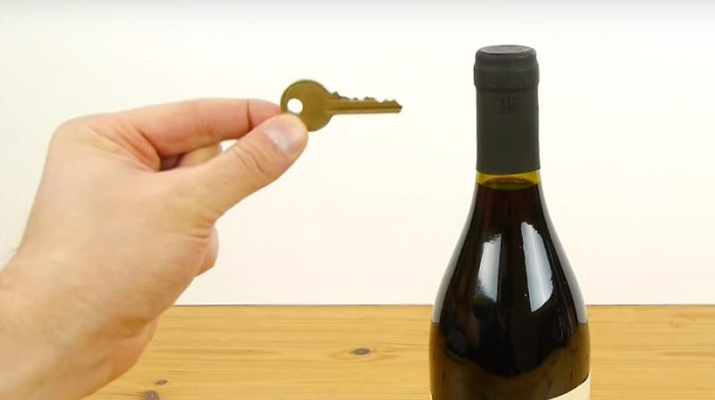 a hack a day how to open a wine bottle with a key. Black Bedroom Furniture Sets. Home Design Ideas