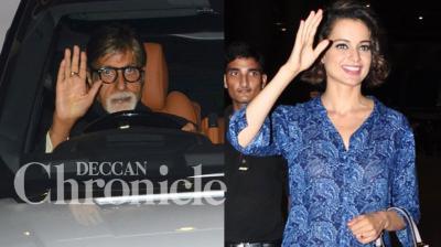 Kangana Ranaut, Amitabh Bachchan along with Shweta, Aishwarya and Abhishek returned home after attending the National Film Awards in Delhi on Tuesday. Photo: Viral Bhayani