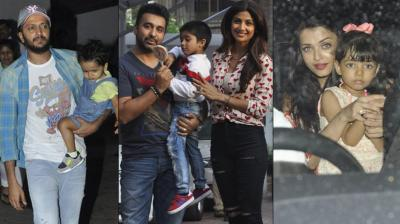 Shilpa Shetty's son Viaan, who turned four on Saturday, called over some of his classmates and good friends to join him celebrate his birthday. Photo: Viral Bhayani