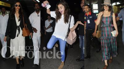 Sonam Kapoor, Alia Bhatt and Kangana Ranaut were spotted rocking their best summer outfits at the airport on Satrurday. Photo: Viral Bhayani