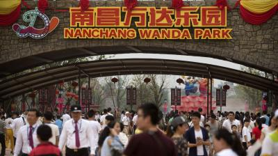 The Chinese conglomerate Wanda opened its first theme park, with its billionaire boss declaring war on Disney weeks before the American entertainment giant launches a similar attraction in Shanghai.
