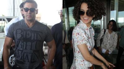 Bollywood's reigning stars Salman Khan and Kangana Ranaut were spotted at the airport on Monday. Photo: Viral Bhayani