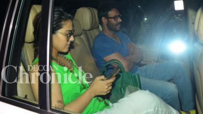 Ajay Devgn, who had spent almost three months away from home, shooting for 'Shivaay', is catching up on lost time with his wife Kajol and the kids. Photo: Viral Bhayani