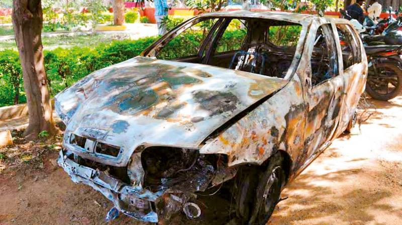 The car that was being driven by a Sudanese student that mowed down a woman in Hesaraghatta on Sunday night. (Photo: DC)