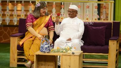 Anna Hazare promoted his upcoming biopic, 'Anna Hazare: Kisan Baburao Hazare,' at the unlikeliest of places — on the sets of The Kapil Sharma Show. (Pic: Viral Bhayani)