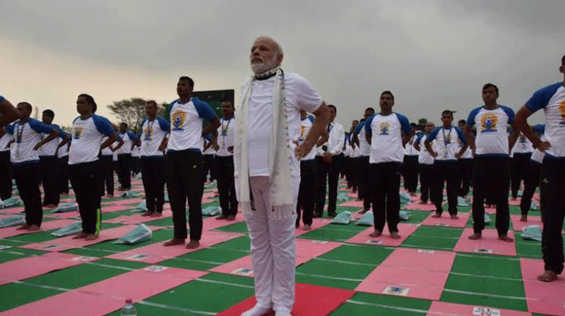 Prime Minister Narendra Modi on Tuesday joined over 30,000 people at Capitol Complex in Chandigarh for the second International Yoga Day celebrations as he pitched for treating diseases like diabetes through the ancient spiritual discipline. (Photo: Twitter/PIB)