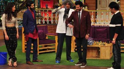 Anil Kapoor joined his son Harshvardhan to promote his film 'Mirzya' along with Saiyami Kher and Rakeysh Omprakash Mehra on Kapil Sharma's comedy show on Friday. (Photo: Viral Bhayani)